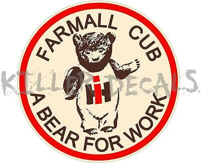 "3"" International Farmall Cub Cadet Tractor ""a Bear For Work"" Decal"