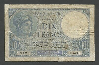 FRANCE - 10 francs  1918  P73a  Very Good  ( Banknotes )