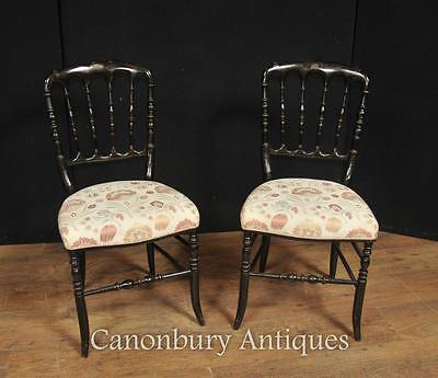 Pair Antique Chinese Black Lacquer Dining Chairs Spindle Back