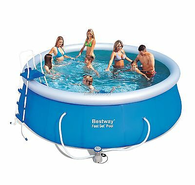 BestWay Fast Set Swimming Pool Round Inflatable 15ft x 48inch With Filter Pump