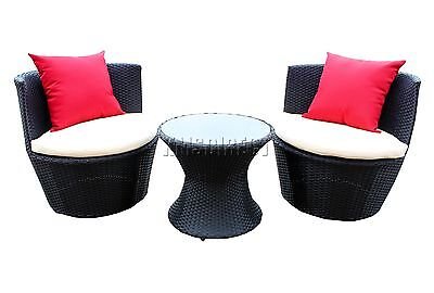 FoxHunter Rattan Furniture Stackable Set Garden Patio Wicker Outdoor Vase1 Black