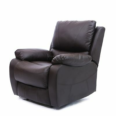 FoxHunter Luxury 1 Seater Leather Cinema Recliner Sofa Chair Armchair RS01 Brown