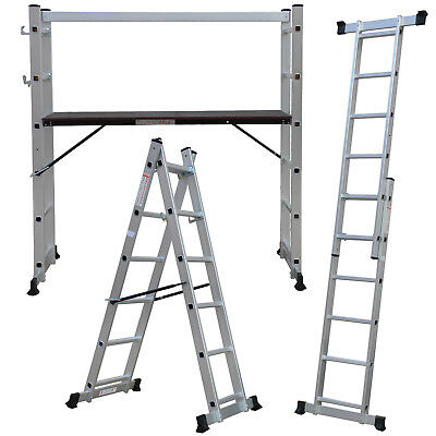 New Multi Purpose DIY Step Ladder Aluminium 5 Way Scaffold Extension Platform