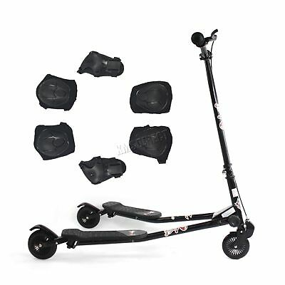 Black 3 Wheel Mini Swing Tri Motion Slider Winged Push Scooter For Kids Drifter