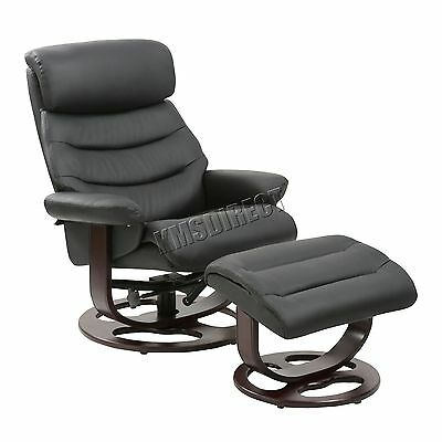 FoxHunter Executive Recliner PU Arm Chair Swivel Lounger Seat Stool RCS04 Black