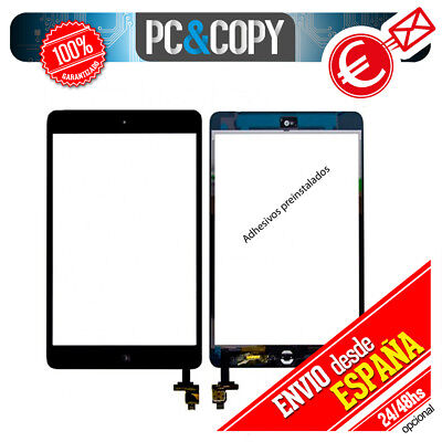 PANTALLA TACTIL PARA iPad mini 2 A1489 NEGRO, HOME+IC CHIP+ADHESIVO INCORPORADOS