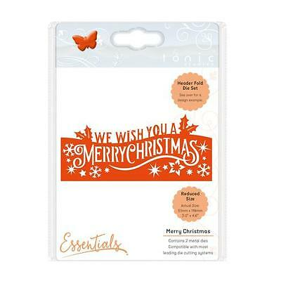 Tonic Studios Christmas Header Fold Die - Merry Christmas, Grey