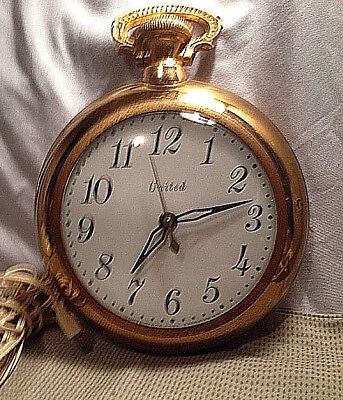 Vtg United Electric Wall Clock Brass Hanging Pocket Watch Works Concave Glass