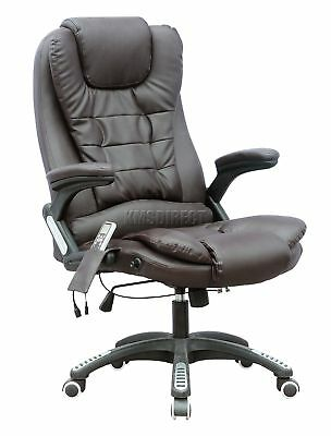 FoxHunter Brown Luxury Leather 6 Point Massage Office Computer Chair Reclining