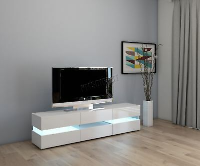 FoxHunter Modern High Gloss Matt TV Cabinet Unit Stand White RGB LED Light TVC07