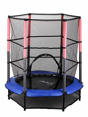 FoxHunter Junior Trampoline With Enclosure Safety Net Kids Child Blue 4.5FT 55""
