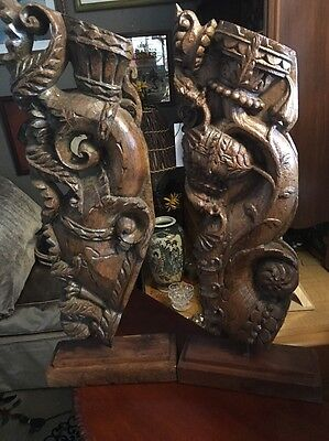 Antique Architectural Wood Carving Fragments On Stands Temple Truss? India? Rare