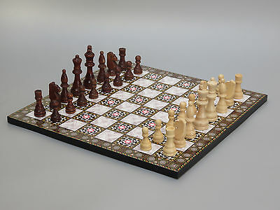 """Yenigun Chess Set Wooden Flat Board Pieces  With Mother Of Pearl Design 14"""""""