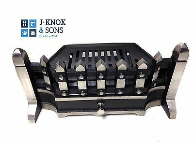 "16"" Classic Fire Front Grate Ash Pan Complete Heavy Duty Highlighted Fireplace"