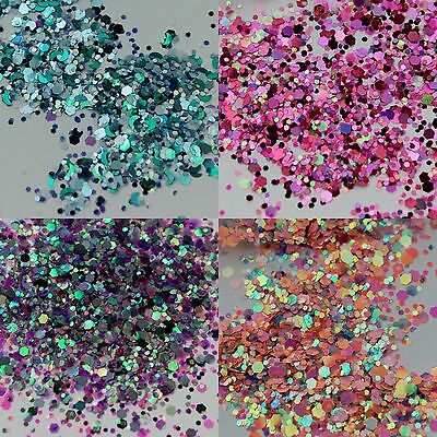 5g 10g 50g Chunky Mixed Flake Face Eye Body Glitter Festival Clubbing Cosmetic