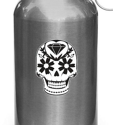 """CLR:WB 2/""""wX2.75/""""h Sugar Skull w Heart and Roses D1 Water Bottle Decal ©YYDC"""