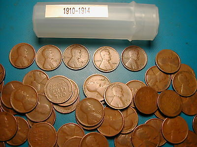 1910-1914 (P dates) MIXED LINCOLN WHEAT CENT ROLL, 50 coins