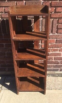 Antique Mission Oak Arts & Crafts Slat Bookcase Stickley & Limbert Era