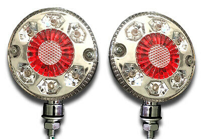 Pair 24V 24 Led Chrome Red White Side Marker Outline Lights Trailer Truck Lorry