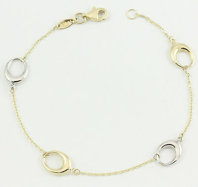 10k Yellow/White Gold Loop Bracelet(new, 7.25'', 1.40g)#3013