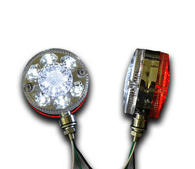 Pair Universal 24V 24 Smd Led Chrome Red White Side Marker Lights Truck Trailer