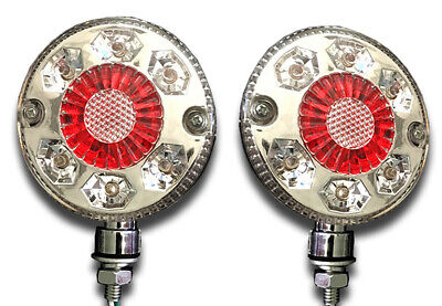 Pair 24V 24 Led Chrome Red White Side Marker Lights For Scania Daf Man Renault