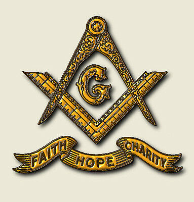 Masonic Square and Compsses Gold with Banner