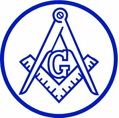 Masonic Square and Compassas Round Blue