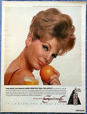 1964 Smirnoff Vodka Julie London Orange Cheek More Tempting Than Apple ad