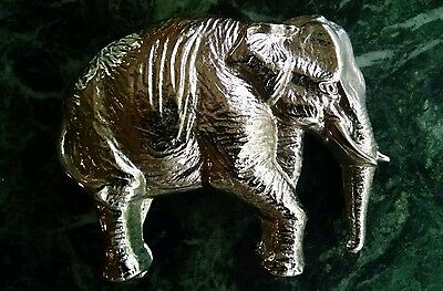 Elephant Belt Buckle Silver Tone Metal Figural Quality Vintag Mens Womens Unisex