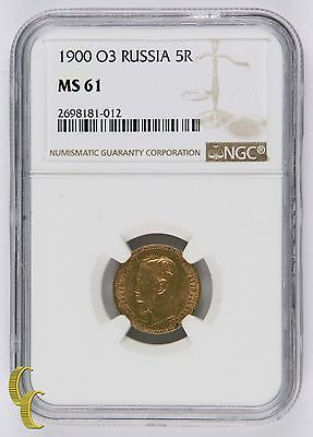 1900-O3 Gold Russia 5R Roubles Coin Graded by NGC as MS-61