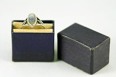 Vintage Ring Display Box Blue Faux Leather Textured Velvet Interior Small