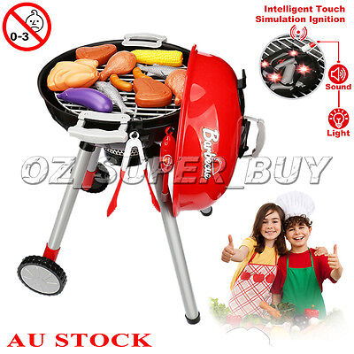 Kids BBQ Set Pretend Play Cooking Sausages Utensils Barbecue Grill Toy Cooker