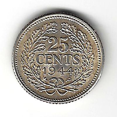 1944 Netherlands 25 Cent Silver Coins