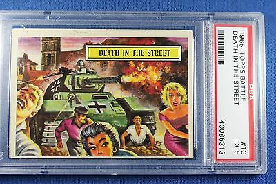 1965 Topps Battle Cards - #13 Death In The Street - PSA Ex 5