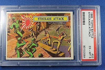 1965 Topps Battle Cards - #22 Stockade Attack - PSA Ex/Mt 6