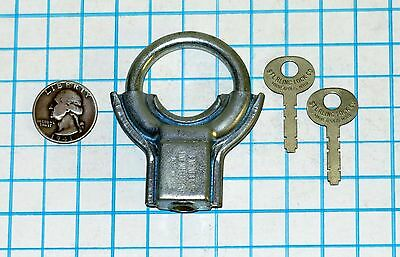 Vtg Old Sterling Jr. Round Circular Shackle Padlock Lock & 2 Original Brass Keys