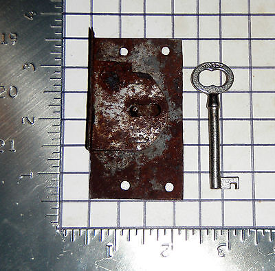 Antique Vtg old Hollow Barrel Key Replacement Lock Assembly Catch Latch Plate