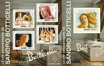 Z08 Imperforated CA15505ab CENTRAL AFRICA 2015 Sandro Botticelli MNH Postfris