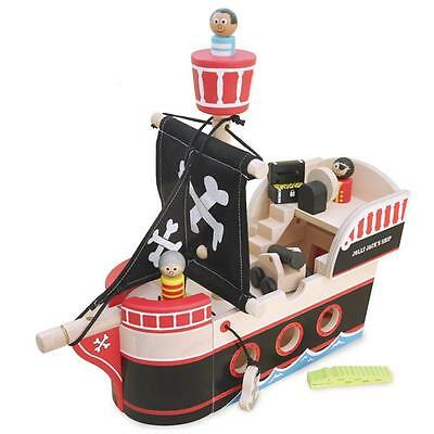 NEW Indigo Jamm Wooden Toy Jolly Jack's Pirate Ship - Pirates, Crocodile, cannon