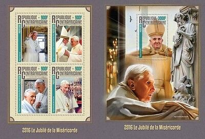 Z08 IMPERFORATED CA16315ab CENTRAL AFRICA 2016 Jubilee of Mercy MNH Set