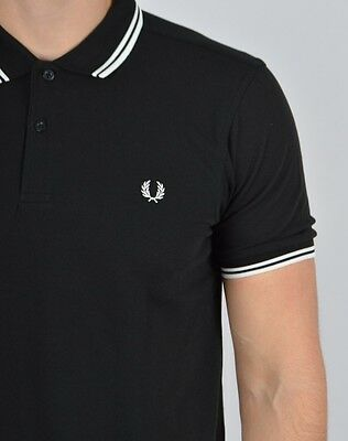 Black White Fred Perry Twin Tipped Short Sleeve Sport Polo Tee T Shirt
