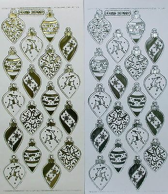 Christmas Baubles Type 2 Double Embossed Clear PEEL OFF STICKERS Cardmaking