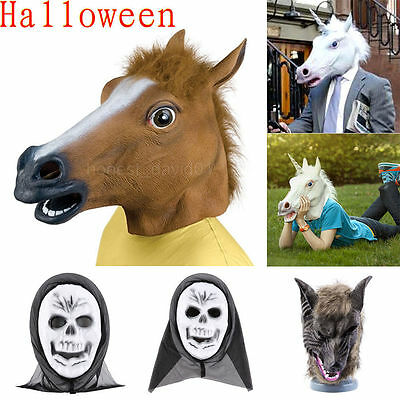 Cosplay Halloween Horse Wolf Head Mask Latex Animal Party Costume Prop Toys Lot