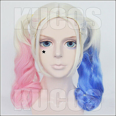 Suicide Squad Harleen Quinze Pink Mix Long fashion cosplay wig Anime hair