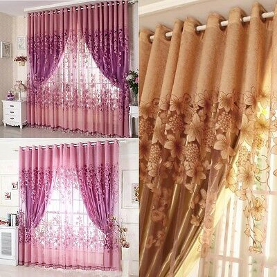 New MagiDeal Ring Top Fully Lined Eyelet Curtains Balcony Voile Curtain Panel