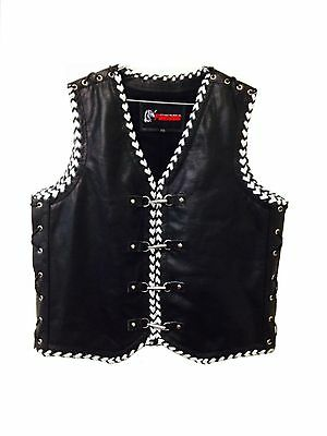 Leather Motorcycle Vest Designer Buffalo Biker Rider Waistcoat Hand Braided