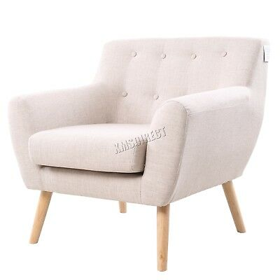 FoxHunter Linen Fabric 1 Single Seat Sofa Tub Armchair Dining Room SSSF-03 Cream