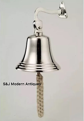 Antique Brass Wall Bell Nickel Vintage Ship School Pub Last Order Dinner Door 8""