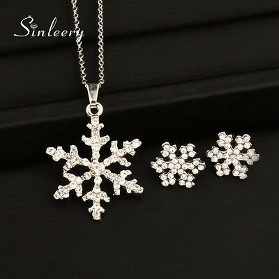 Christmas Gifts Crystal Snowflake Necklace Earrings Set 18k White Gold TZ142